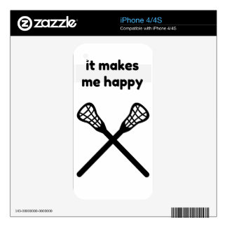It Makes Makes Me Happy-Lacrosse Decal For The iPhone 4S
