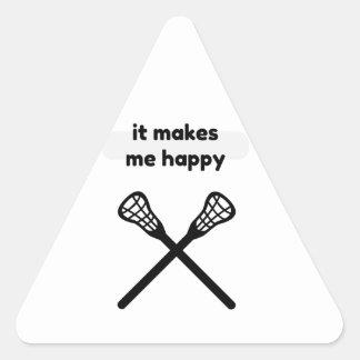 It Makes Makes Me Happy-Lacrosse Triangle Sticker
