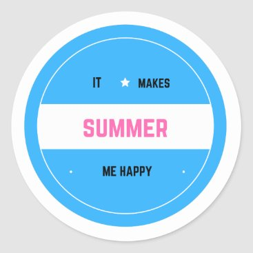 Beach Themed It Makes Me Happy-Summer Classic Round Sticker