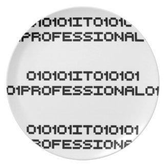 it professional binary code computer language dinner plate