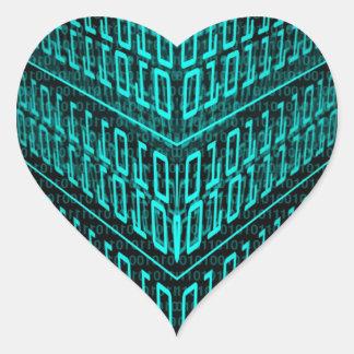 IT programmer high tech computer binary code Heart Sticker