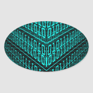 IT programmer high tech computer binary code Oval Sticker