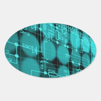 IT programmer high tech computer circuit board Oval Sticker