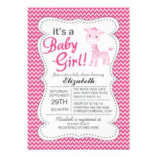 It s a Baby Girl Pink Giraffe Girls Baby Shower Card