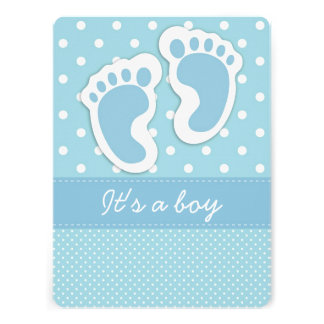 It s a Boy Baby Footprints Personalized Invitation