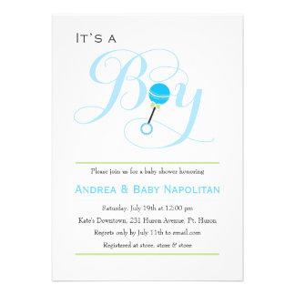It s a Boy Baby Rattle Baby Shower Custom Invitation