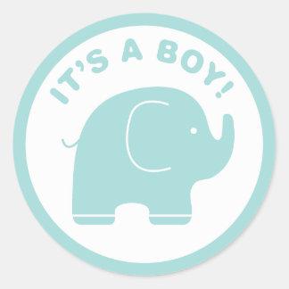 It s a Boy Baby Shower Cute Blue Elephant Sticker
