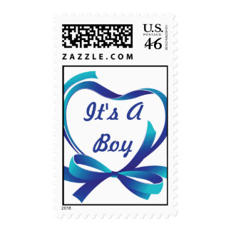 It s A Boy Blue Heart Ribbon Postage Stamps