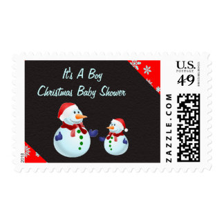 It s A Boy Christmas Baby Shower Postal Stamps