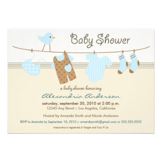 It s a Boy Clothesline Baby Shower Invitation