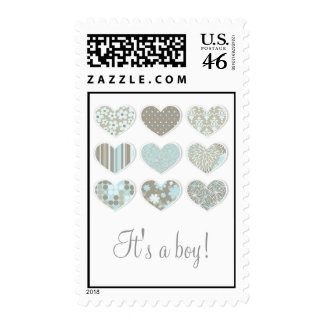 It s a Boy Cute Hearts Postage