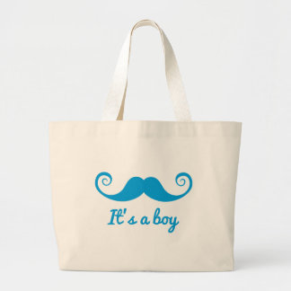 it s a boy design with blue mustache for baby canvas bag
