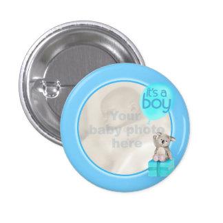 It s a boy newborn photo koala baby blue badge pinback button