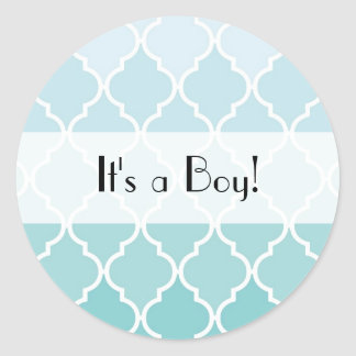 It s a Boy - Ombre Moroccan Trellis - Blue White Stickers