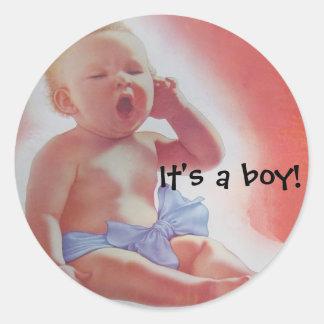 It s a boy round stickers