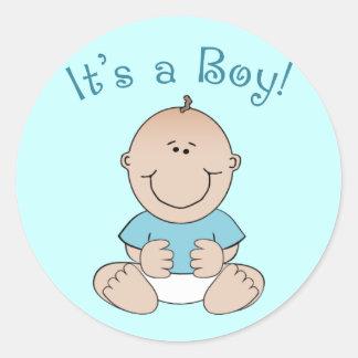 It s a Boy Round Sticker