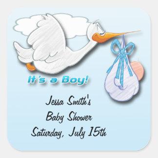 It s a Boy Stork Baby Shower Favor stickers