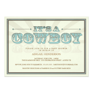 It s a Cowboy Country Baby Shower Blue Invitation