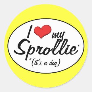It s a Dog I Love My Sprollie Round Stickers