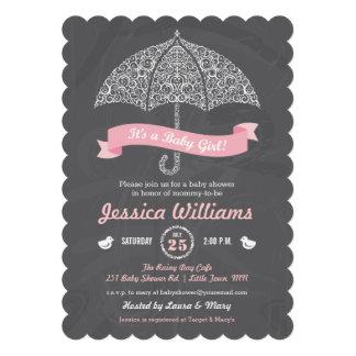 It s a Girl Baby Shower Umbrella Chalkboard Invite