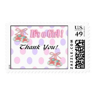 It s a Girl Booties Baby Shower Thank You Postage