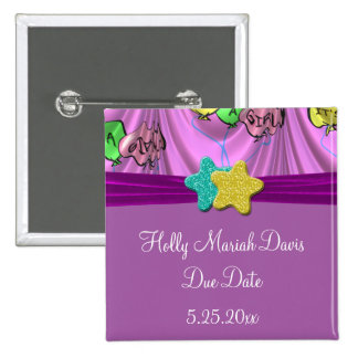 It s A Girl Draped Balloons Save Due Date Buttons