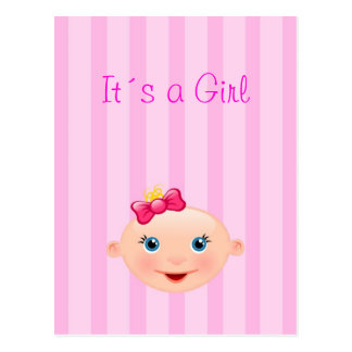 It´s a Girl - Pink Birth Announcement Postcard