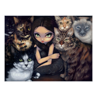 It s All About the Cats fairy cat Art Print