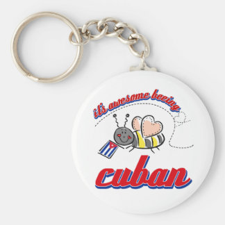 It's awesome being Cuban Basic Round Button Keychain