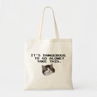 It's Dangerous To Go Alone Take This Kitten Tote Bags