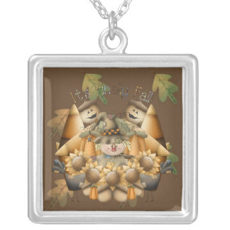 It's Finally Fall Square Pendant Necklace