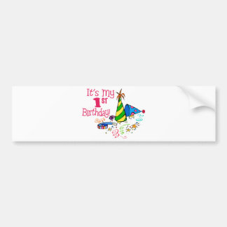 It s My 1st Birthday Party Hats Bumper Sticker