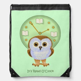 It's Read O'Clock Drawstring Bag
