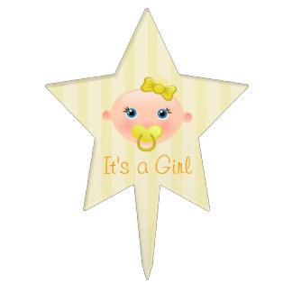It´s un amarillo de la cara del bebé del chica - decoración para tarta