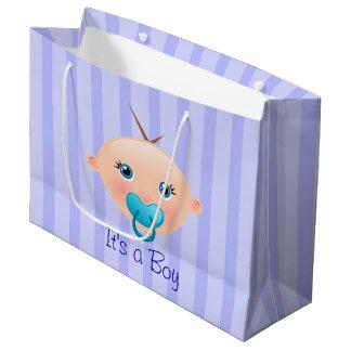 It´s un azul de la cara del bebé del muchacho - bolsa de regalo grande