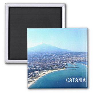 IT - Sicily - Catania  beach - Etna 2 Inch Square Magnet