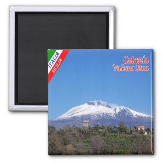 IT - Sicily - Catania - Etna with snow 2 Inch Square Magnet