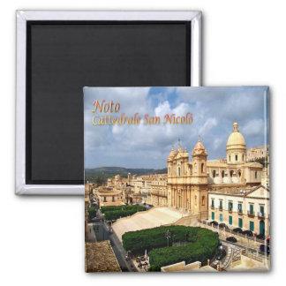 IT - Sicily - Noto - Saint Nicholas Cathedral 2 Inch Square Magnet