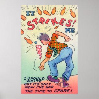 It Strikes Me, Cartoon Man Bowling Poster