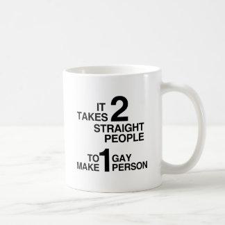 IT TAKES 2 STRAIGHT PEOPLE CLASSIC WHITE COFFEE MUG