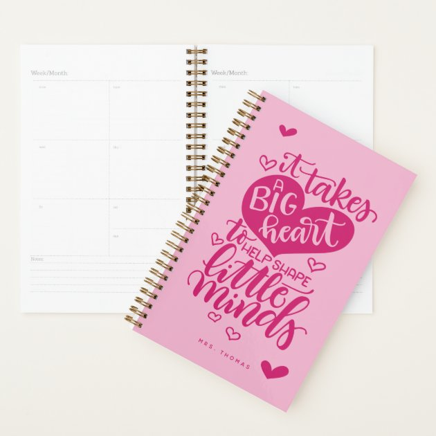 It Takes a big Heart to Shape Little Minds Stationery Set PERSONALISED Teacher