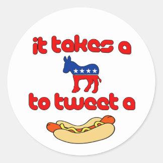It Takes a Jackass (Democrat) To Tweet A Weiner Classic Round Sticker