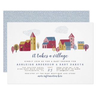 It Takes A Village Blue Boy Baby Shower Invitation
