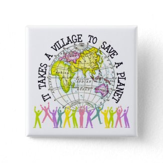 It Takes A Village Ecology Button button