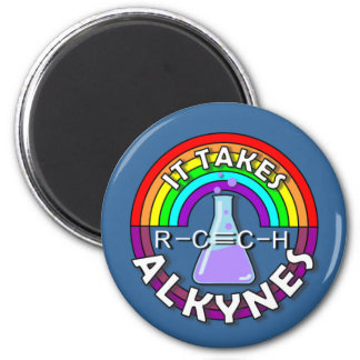 It takes ALKYNES! Rainbow flask chemistry magnet
