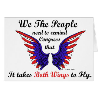 It Takes Both Wings to Fly Horizontal Notecards Greeting Cards