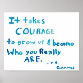 It Takes Courage e. e. cummings Art Poster Print