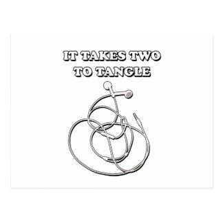 It takes two to tangle postcard