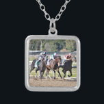 """It Tiz well, Lockdown &amp; Abel Tasman Silver Plated Necklace<br><div class=""""desc"""">Horse racing&#39;s greatest moment when three amazing thoroughbreds with their rippling muscles battle to the finish line in a photo finish noses apart at historic Parx Racetrack for the million dollar running of the The Cotillion stakes. In this race, It Tiz Weel, on the outside got the win in the...</div>"""