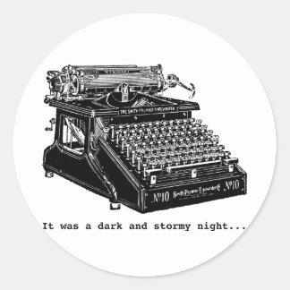 It was a Dark and Stormy Night Classic Round Sticker